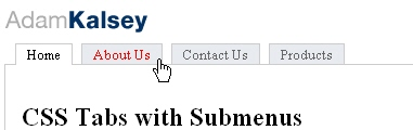 CSS Navigation Showcase: CSS Tabs With Submenus
