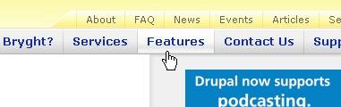 CSS Navigation Showcase: Bryght.com