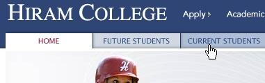 CSS Navigation Showcase: Hiram College