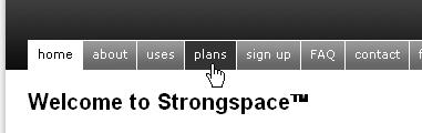 CSS Navigation Showcase: Strongspace.com